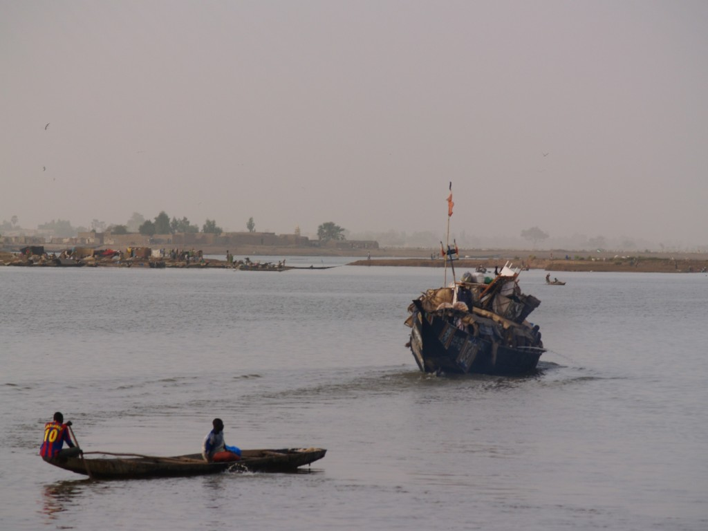 Barges on the Niger river, Mopti, Mali